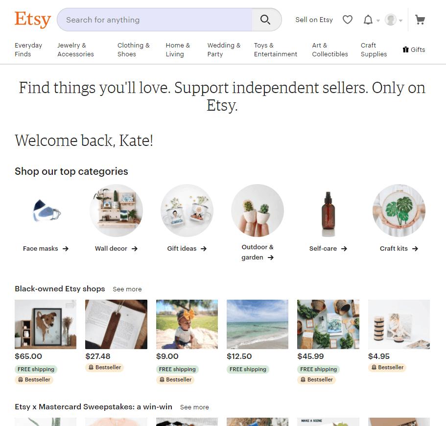 Screengrap of Etsy signup page