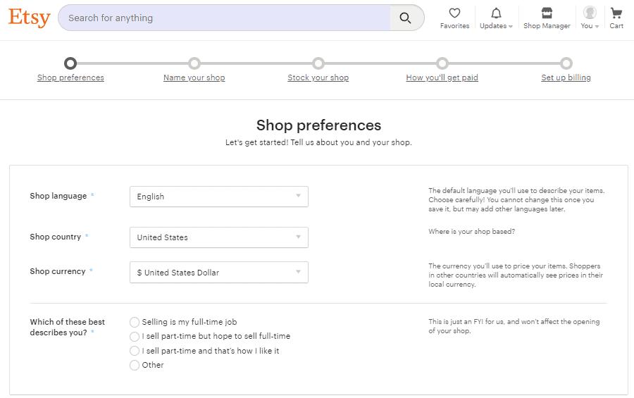 Screengrab of Etsy signup page