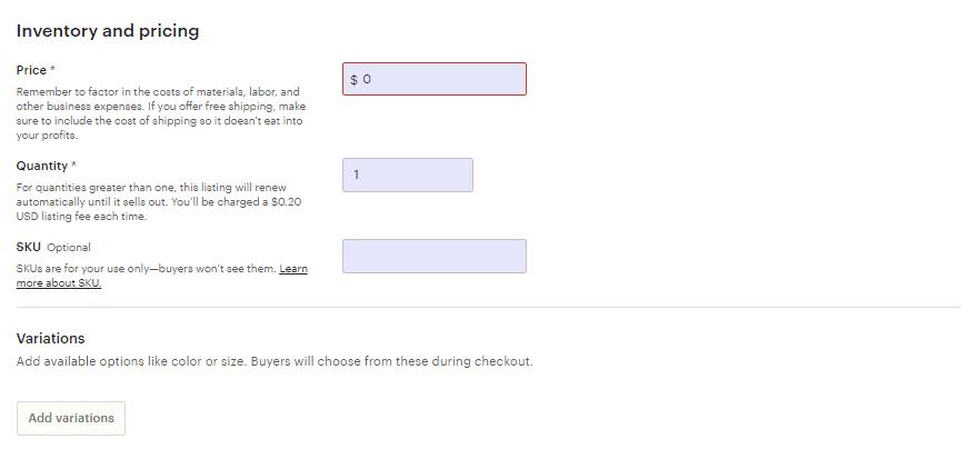 Screengrab of Etsy pricing page