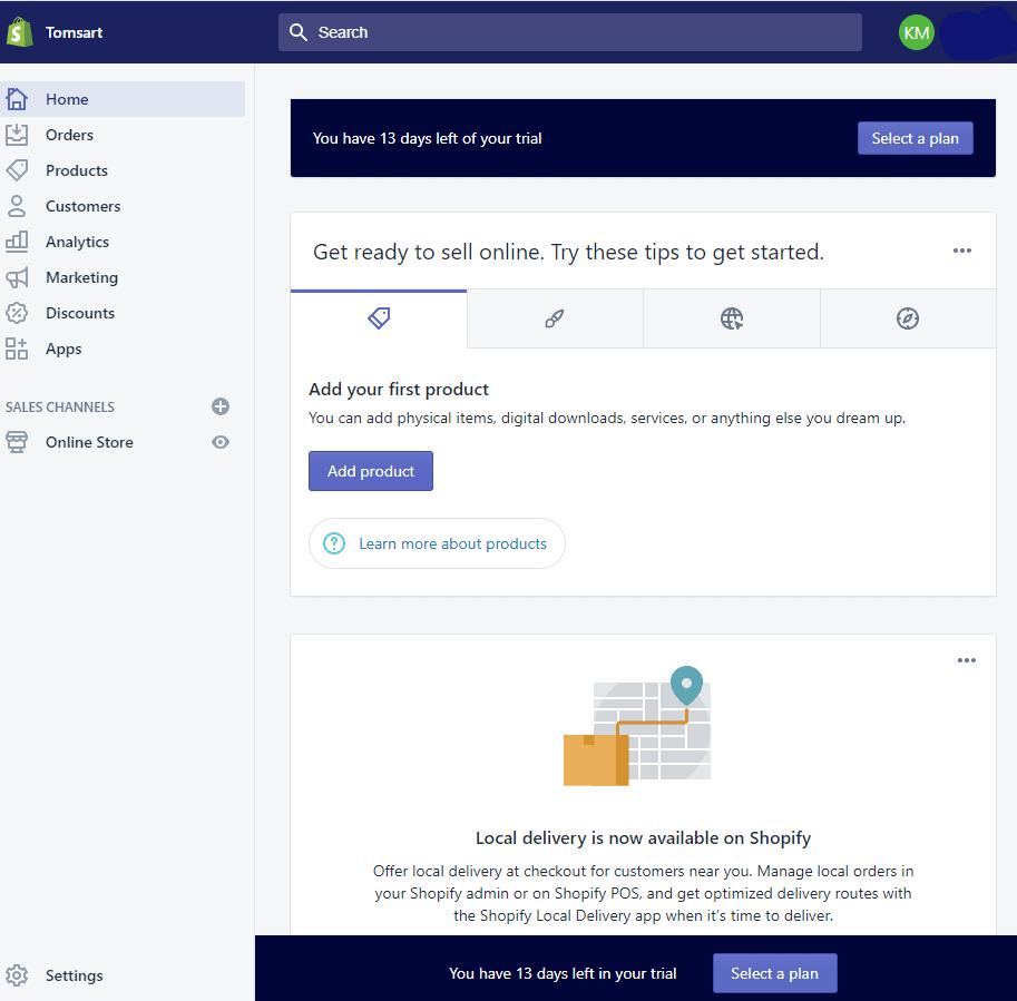 Screengrab of Shopify admin