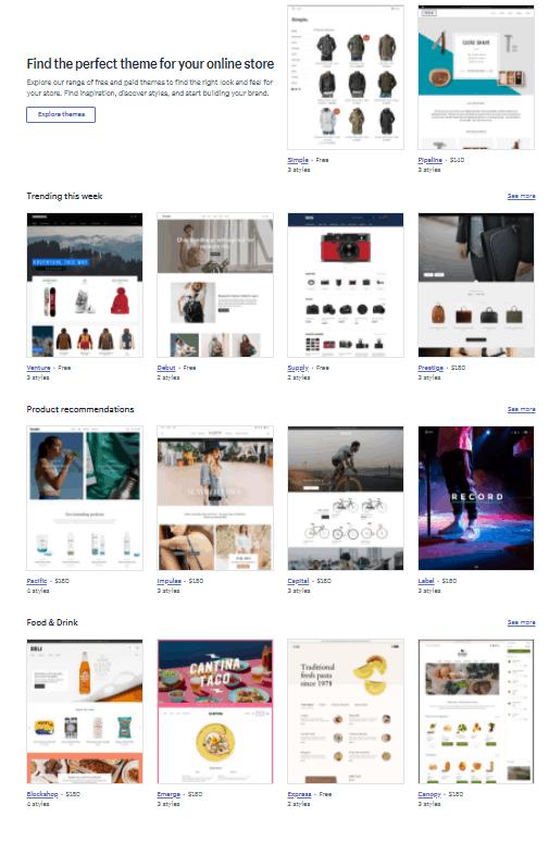 Screengrab of Shopify themes