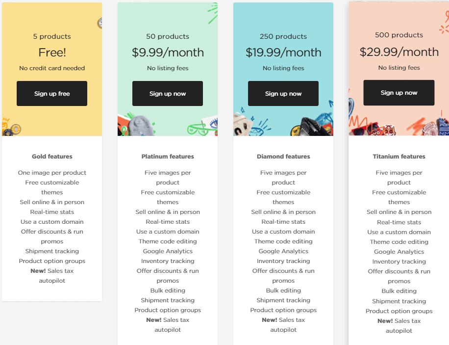 Screengrab showing Big Cartel pricing plans
