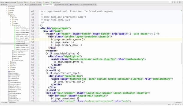 Screengrab of Drupal Bartik theme code