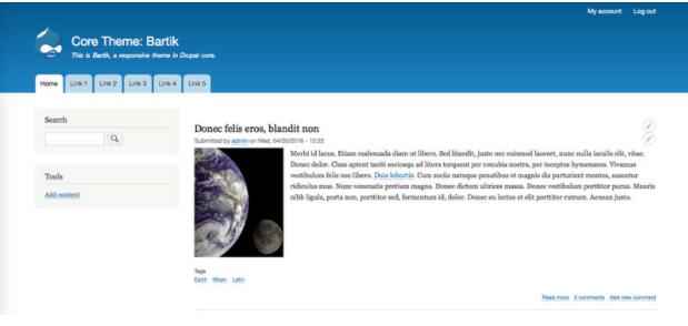Screengrab of Drupal theme Bartik