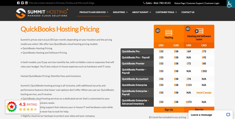 summit quickbooks hosting