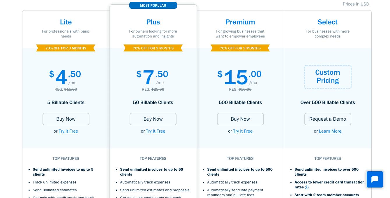 xero vs freshbooks pricing