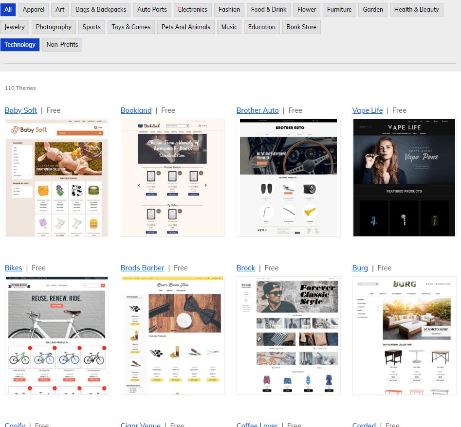 Screengrab of Shift4Shop themes