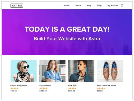 Screengrab of Astra theme for WordPress