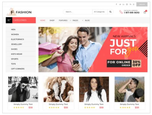 Screengrab of Fashion eStore theme for WordPress