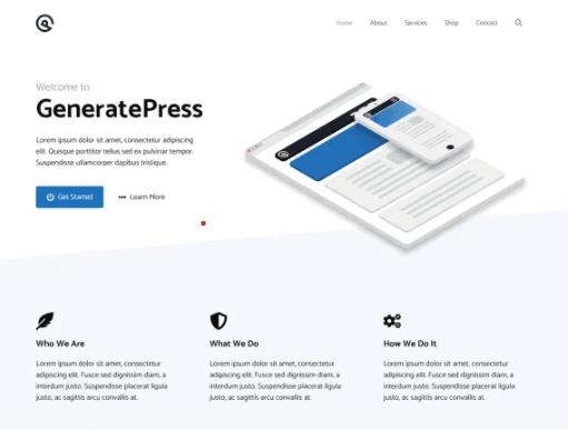 Screengrab of GeneratePress theme for WordPress