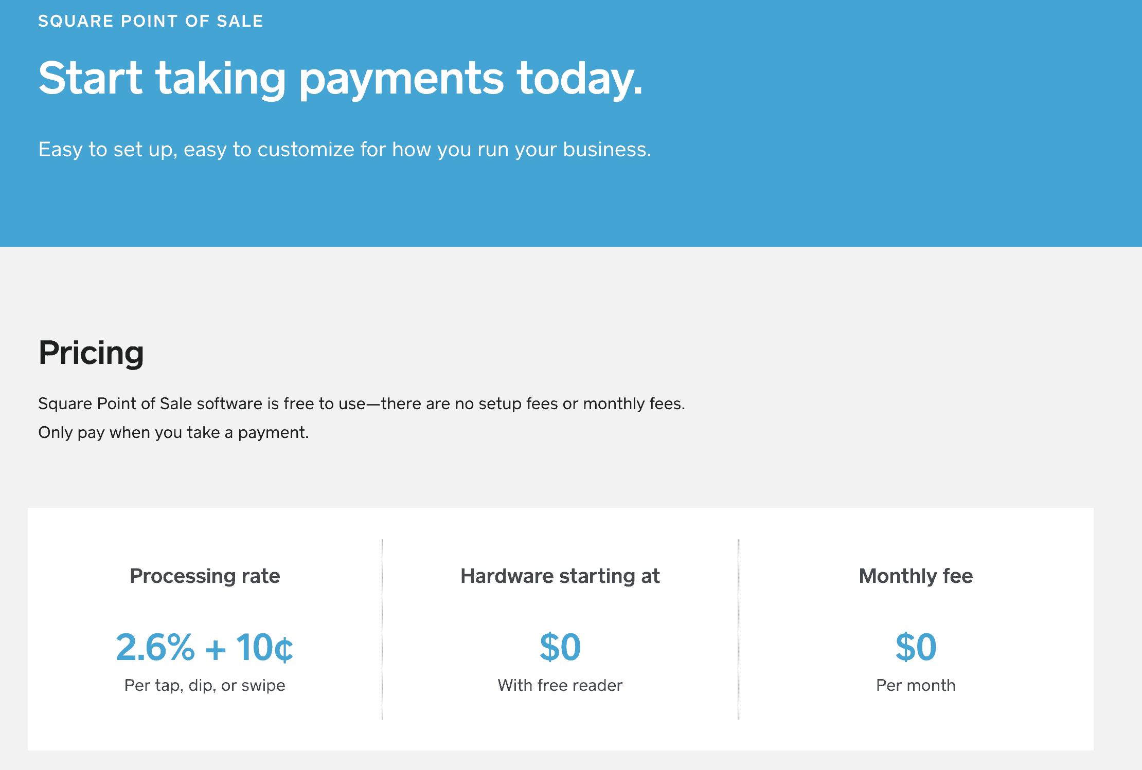 square pos pricing page