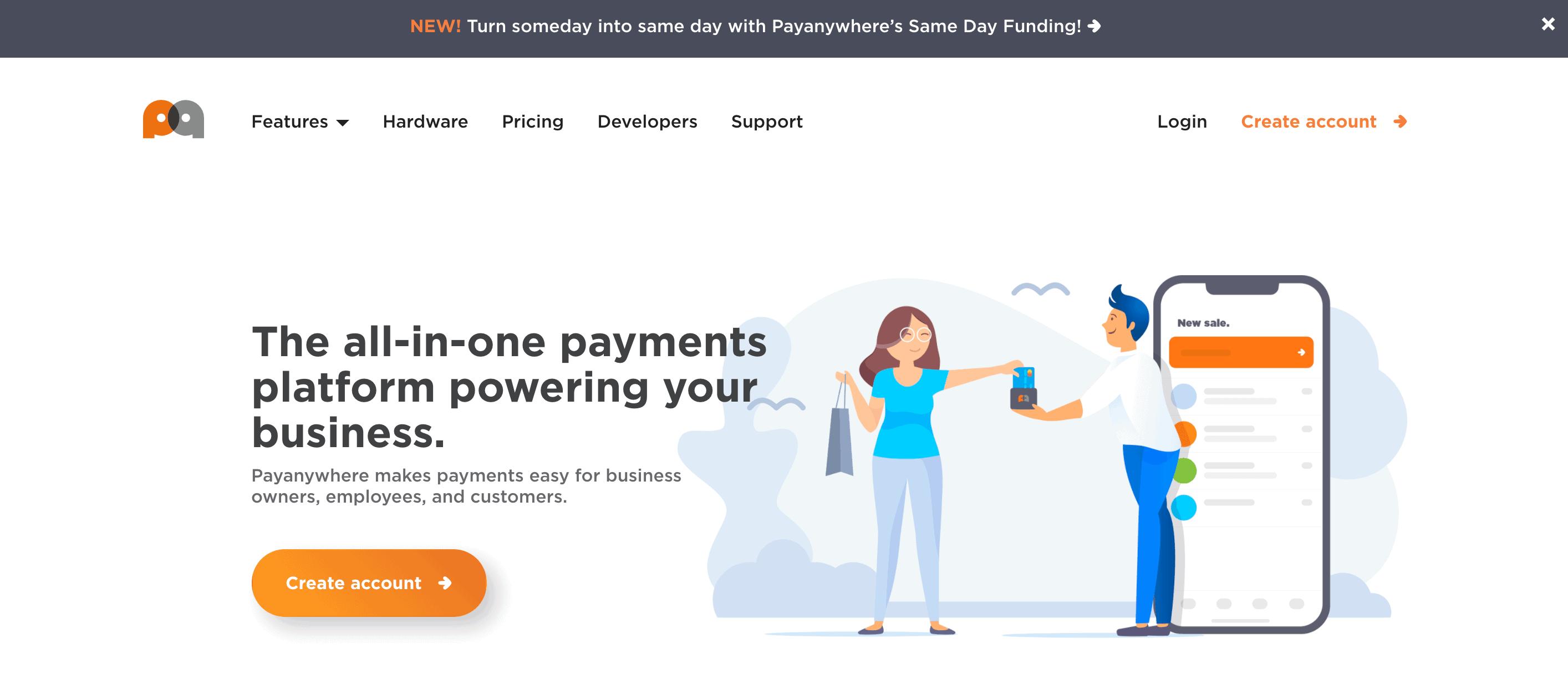 payanywhere homepage screenshot