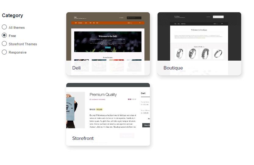 Screengrab of free WooCommerce themes
