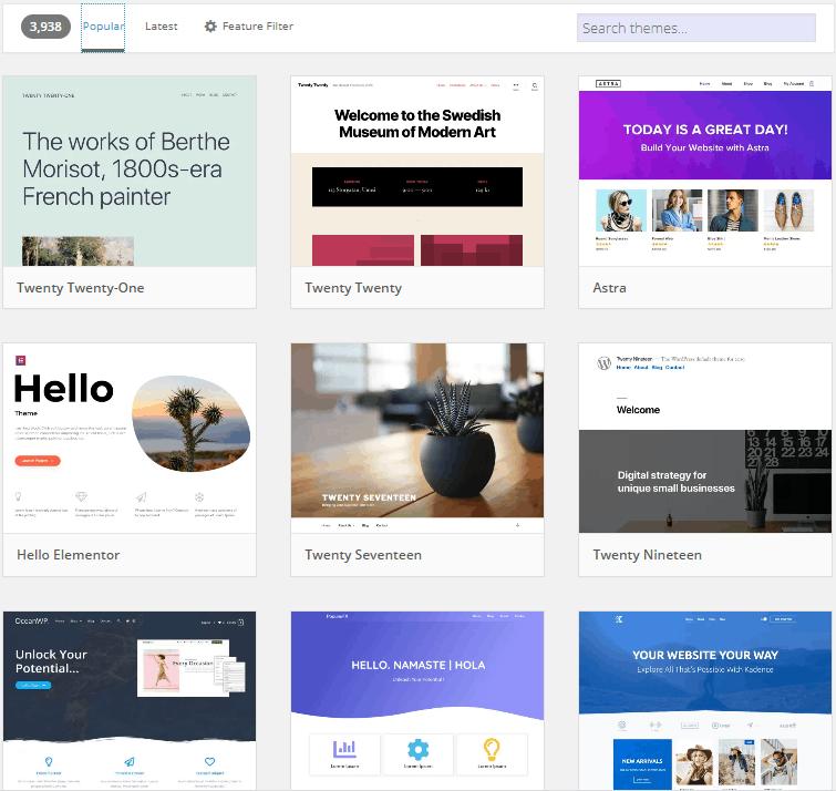 Screengrab of WordPress theme store