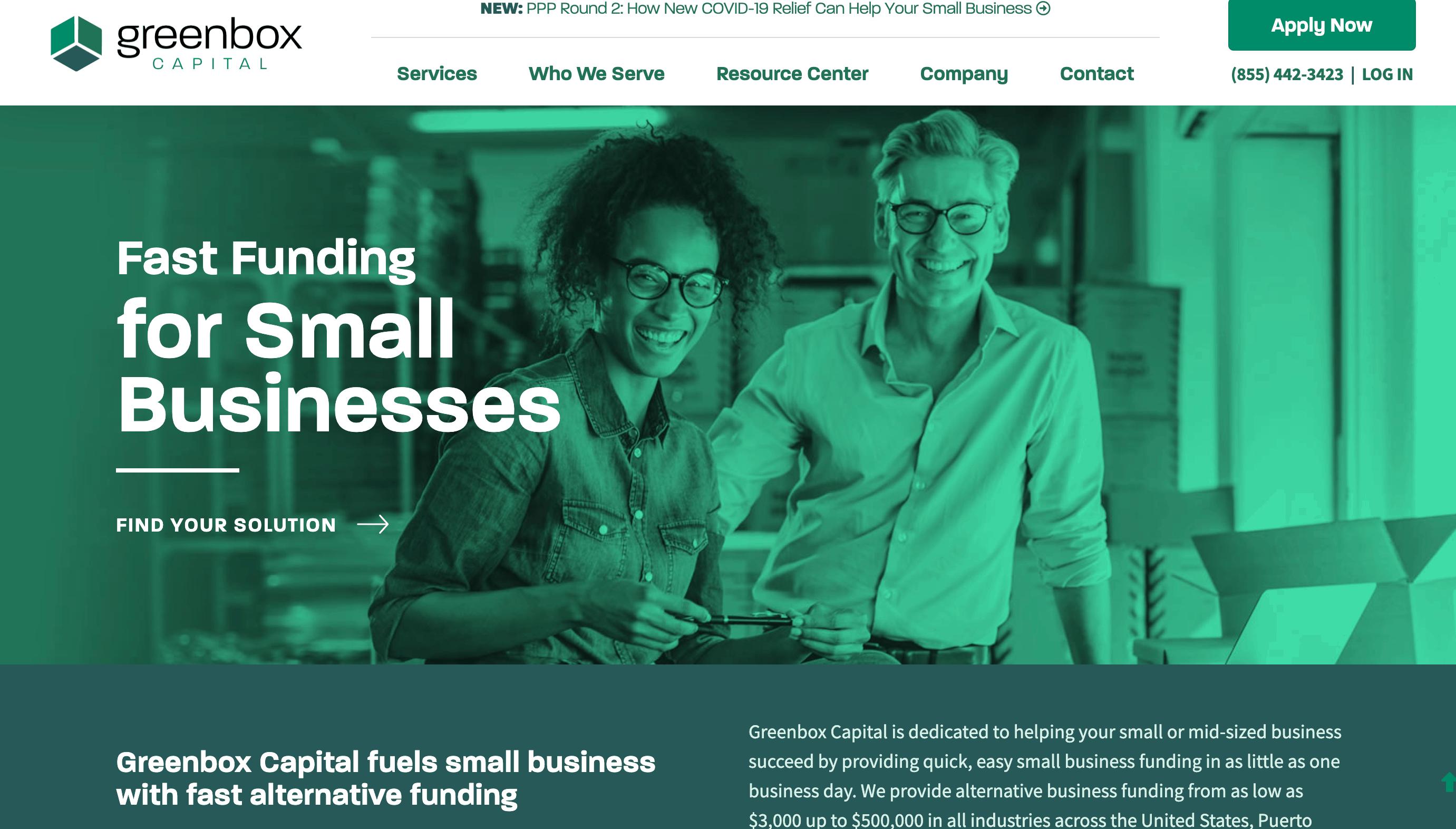greenbox capital website homepage
