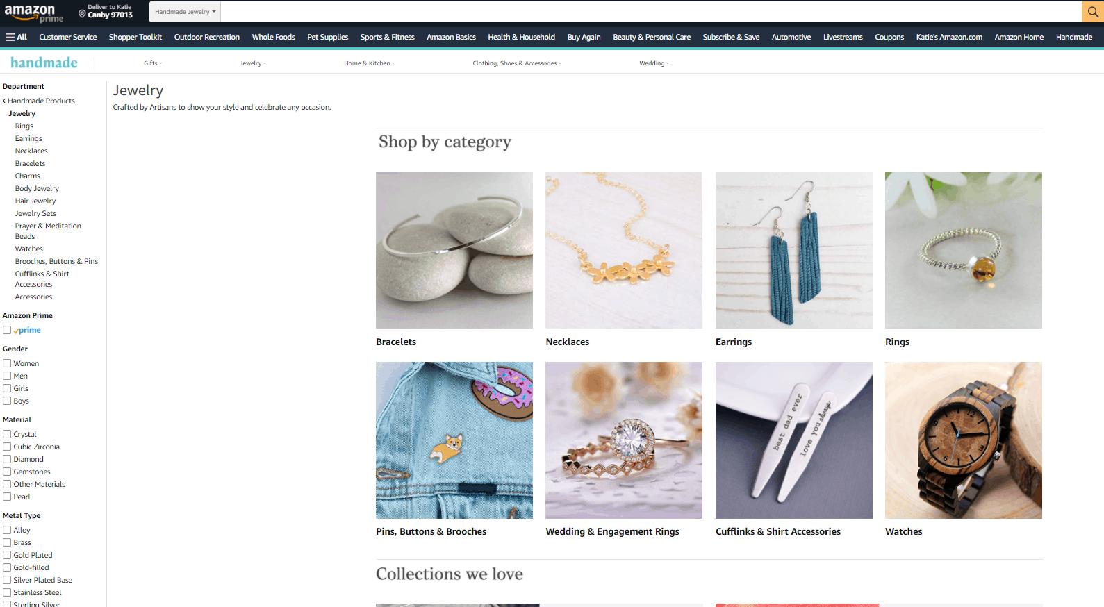 Screengrab of Amazon Handmade jewelry for sale