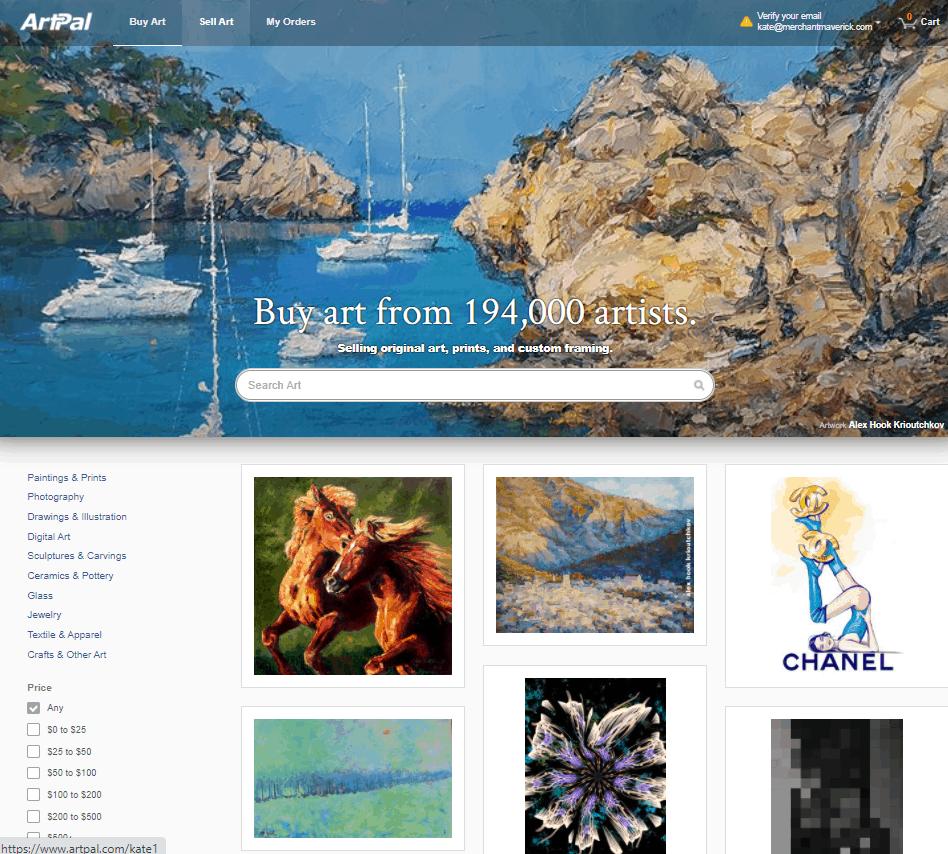 Screengrab of ArtPal home page