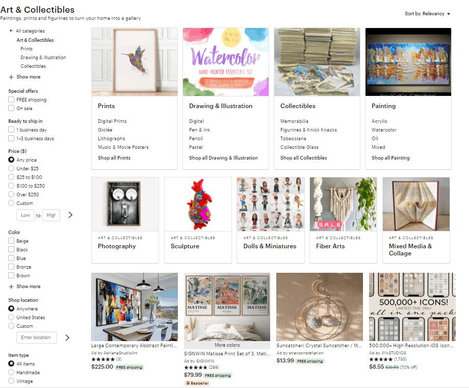 Screengrab of Etsy's artwork subcategories