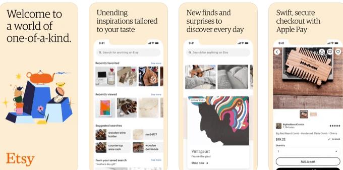 Screengrab of Etsy's seller app for iOS