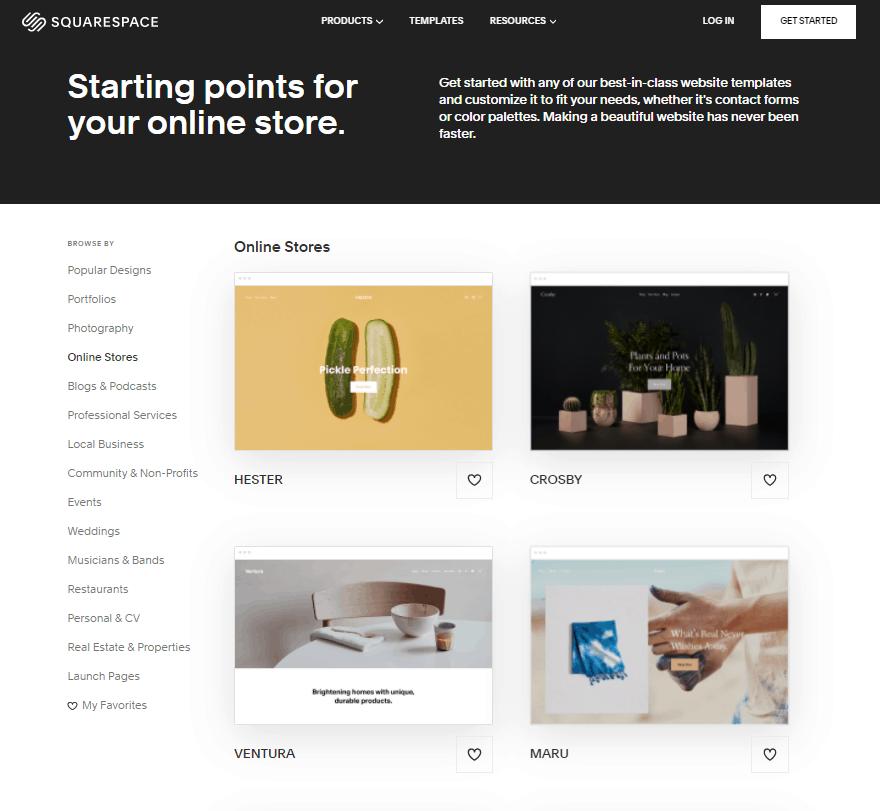 Screengrab of Squarespace theme options