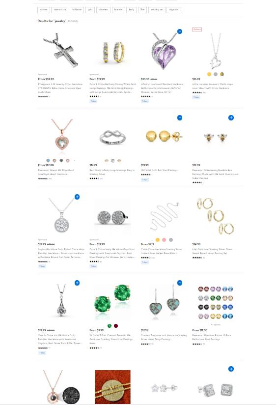 Screengrab of Walmart Marketplace webpage displaying jewelry