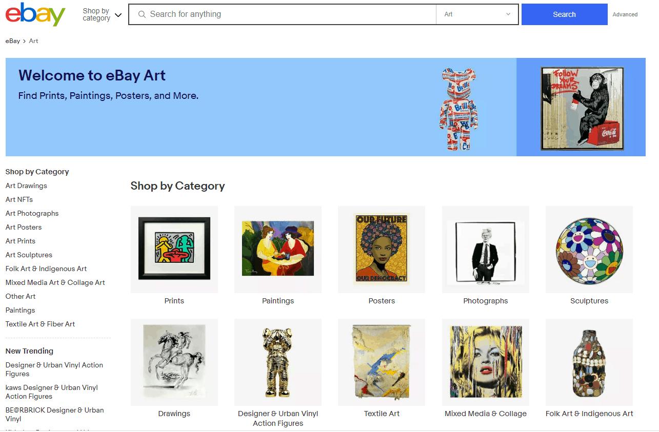 Screengrab of eBay Art listings