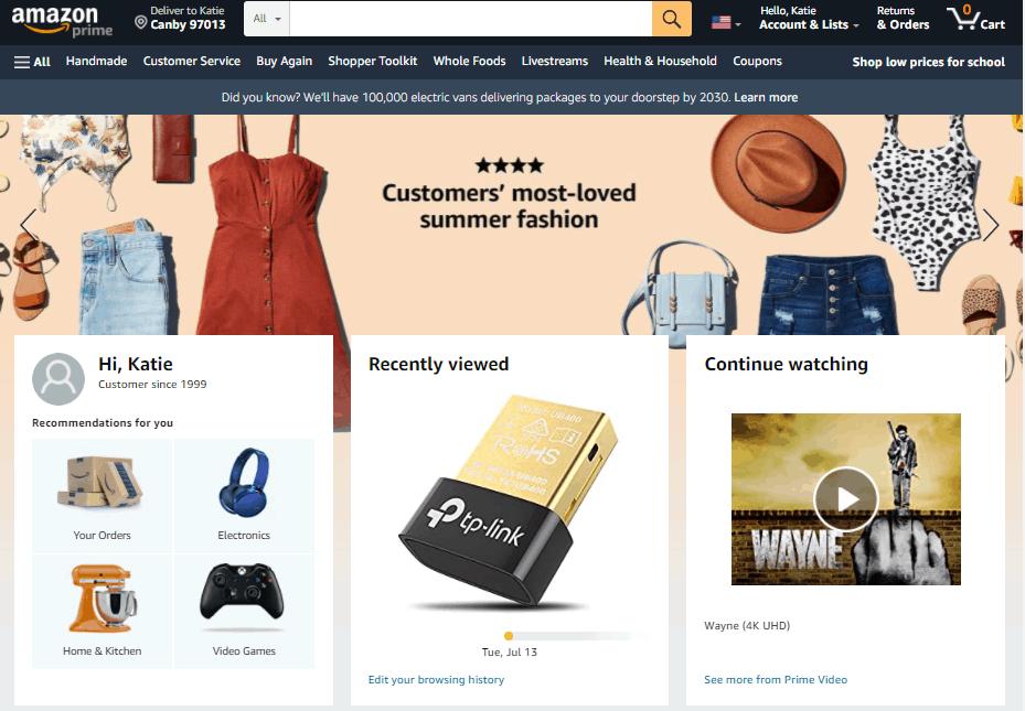 Screengrab of Amazon home page
