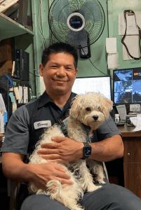 a mechanic and his dog