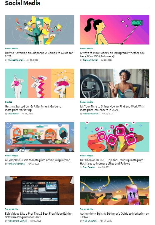 Screengrab of Shopify blog posts supporting social media sales